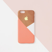 iPhone 6 case, iPhone 6s case - Peach  layered wood pattern - iPhone 6 case, iPhone 6s case, Good Luck Gold Sticker, non-glossy L15