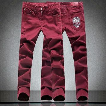 Skull Wine Red Slim Zipper Fly Jeans 👨💀