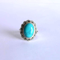 turquoise stone ring, silver ring, 92.5 sterling silver,  silver turquoise ring, stone ring,Natural Turquoise Silver Ring, RNSL212
