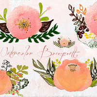Vintage Watercolor Flowers Clipart Files - High Res Transparent PNG - Hand Painted Digital Scrapbook elements - Instant download