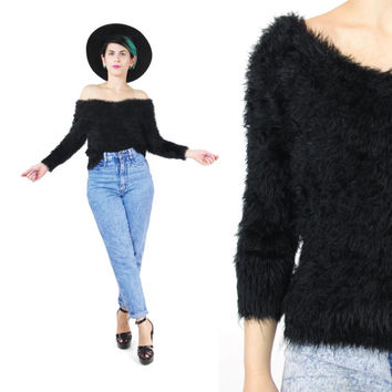 90s Black Fuzzy Sweater Soft Fluffy Sweater Hairy Shaggy Sweater Grunge Goth Sweater Slouchy Off Shoulder Sweater Stretchy Knit Jumper (S/M)