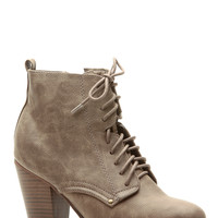 Beige Faux Leather Chunky Lace Up Booties
