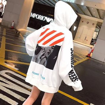 """""""OFF-WHITE"""" Women Casual Fashion Personality Letter Pattern Long Sleeve Hooded Sweater Sweatshirt Hoodie Tops"""