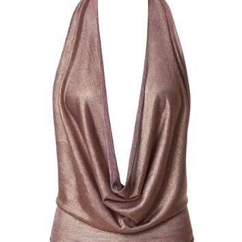 LE3NO Womens Lightweight Shiny Metallic Sexy Low Cut Halter Top with Stretch