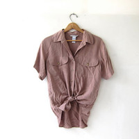 vintage taupe silk shirt. slouchy silk blouse. silk pocket shirt. short sleeve silk top.