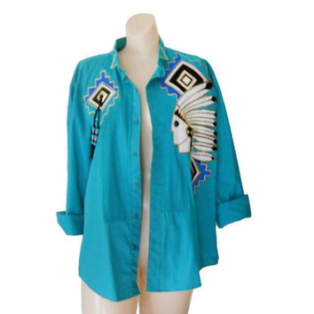 Southwestern Shirt Southwest Shirt Hipster Shirt Women Western Shirt Native American Indian Teal Blouse Long Sleeve Shirt Western Clothes