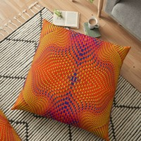 'Multicolour curved facade' Floor Pillow by hypnotzd