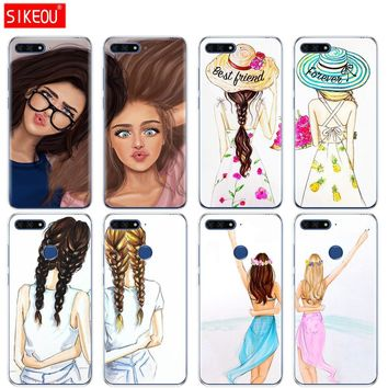 Silicone Cover Phone Case For Huawei Honor 7A PRO 7C Y5 Y6 Y7 Y9 2017 2018 Prime Girls Brunette Blonde Best Friends BFF Matching