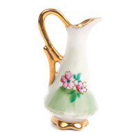 Vintage Miniature Pitcher Ucagco Ceramics Small Ewer Made in Japan Fruit and Floral Design Vase