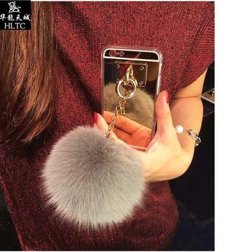 Silver Luxury Metal Rope Mirror Tassel phone Capa fake rabbit fur ball For iPhone 7 7Plus 6 6S 6plus 5 S 5S SE Back Cover Case