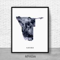 Namibia Print, Travel Map, Namibia Map Print, Travel Decor, Travel Prints, Living Room Wall Art, Office Pictures, Art Print Zone
