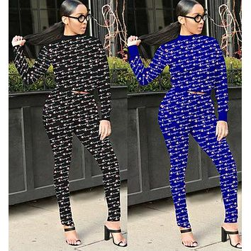 Champion Autumn Fashion Women Casual Full Logo Print Top Pants Trousers Set Two-Piece Sportswear