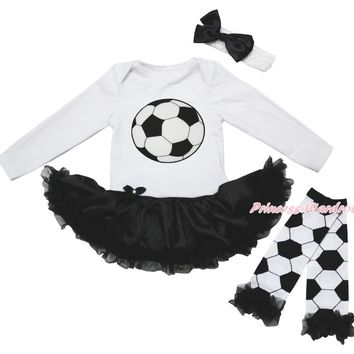 3PC Girl's Soccer Outfit With Matching Leg Warmers and Headband