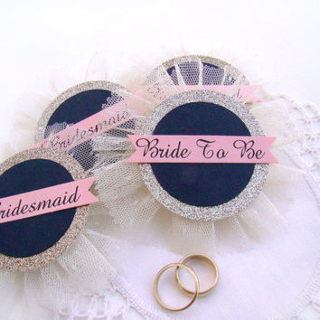 Bride Pin, Bride Badge, Bride Corsage, Bachelorette Party Pins, Bridal Shower, Hen Party Pins, Wedding Party Badges, Navy Gold Blush Wedding