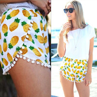 Pineapple Print Shorts with Pom Decor