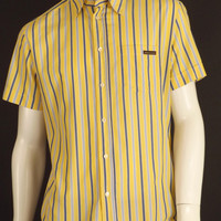 D&G-Yellow Cotton Stripe Shirt, Size-Large