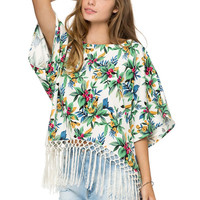 Green Floral Bell Sleeve Fringed Top