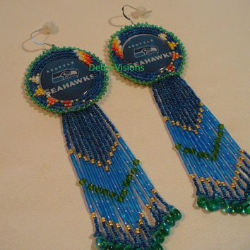 Native American Style Rosette beaded Seahawk earrings