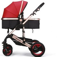 Luxury Newborn Baby Foldable Anti-shock High View Carriage Infant Stroller Pushchair - Red