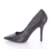 Black Perforated Single Sole Pump Heels Faux Leather