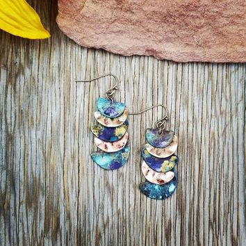 Patina Multi Color Layered Earrings