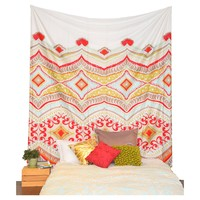 Tristan Orange Red Fabric Wall Tapestry