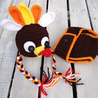 Crochet Turkey, Photography Prop, Photo Prop, Newborn, Baby, Newborn Turkey Prop, Crochet, Diaper Cover, Thanksgiving, Halloween, Costume