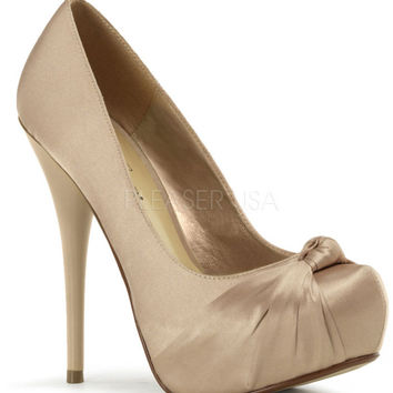 Fabulicious Gorgeous Beige Satin Stiletto Heels