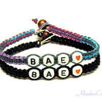 Bae Bracelets for Couples or Best Friends, Purple Haze and Black Hemp Jewelry, Made to Order