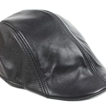 Men's Women's Real Leather Beret / Newsboy Hat / Golf Hat