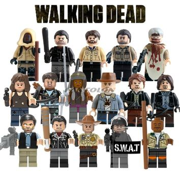 The Walking Dead Building Bricks Carol Michonne Daryl Dixon Maggie Green Morgan Rick Grimes Negan Mini Bricks Toys For Children