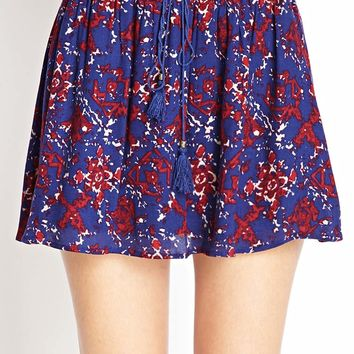Abstract Print Skater Skirt