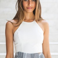 Lia Lace Up Crop White - Tops - Clothing