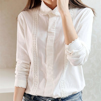White Blouse Women Work Wear Button Up Lace Turn Down Collar Long Sleeve Cotton Top Shirt Plus Size S-XXL blusas feminina T56302