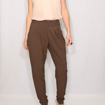 Brown Harem Pants trousers Double Draped Pockets