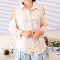 Spring Open Shoulder Cotton Lacy Long Sleeves Blouse