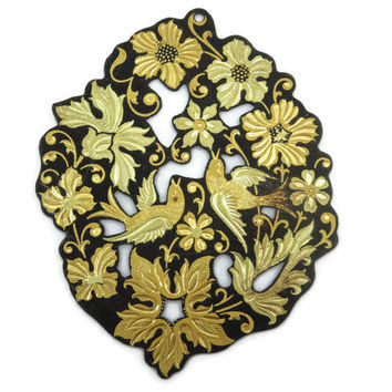 Damascene Jewelry Necklace Pendant - Huge, Black Steel & Inlaid Gold, Cutout, Bird and Flowers