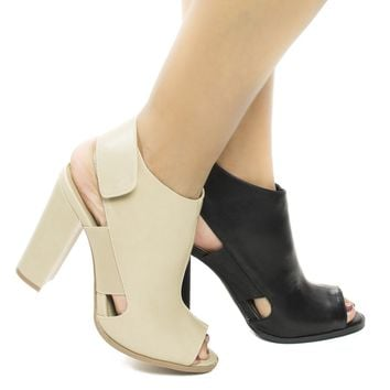 Emilia26 By Wild Diva, Peep Toe Sling Backed Sandal on Chunky Block High Heel