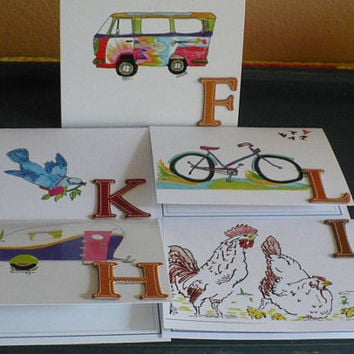 Custom Stationery, Add Letter of your choice, Blank Card, Select Your Design at Check Out, Mix and Match Note Cards