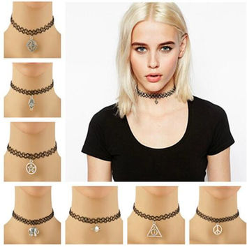 Handmade Fashion Vintage Stretch Tattoo Choker Necklace Gothic Punk Grunge Henna Elastic with Pendant Necklaces Jewelry