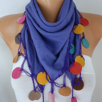 Lavender Pashmina Scarf ,Bohemian,Wedding Scarf,Fall Winter,Christmas- Cowl Scarves with Lace Leather Edge