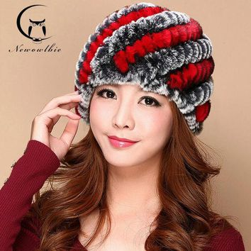 2016 Hot Fashion Excellent Eex Rabbit Fur Hat Genuine Women Winter Cap High Quality Ear Cap Free Shipping Fur Hats For Adult
