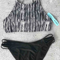 Cupshe Dark Dense Forest Bikini Set
