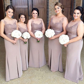 Elegant Satin Lace Bridesmaid Dresses Pretty Slit Light Purple/Lilac Bridesmaid Dress Sheer Wedding Party Bridesmaid Gowns B103