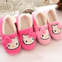 2016 Winter Women Slippers with heels Cartoon Cotton Slippers Indoor Home female Shoes