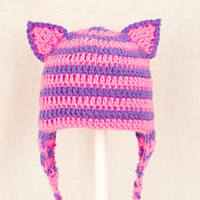 Cheshire Cat Ears Earflap Hat from Alice in Wonderland, Hot Pink and Purple Crochet Beanie, send size choice baby - adult