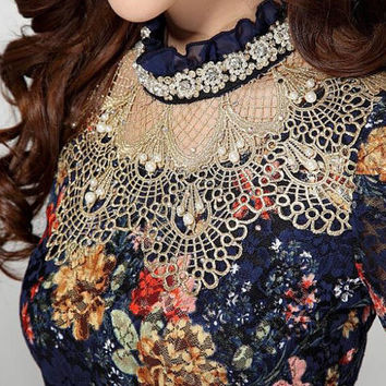 Vintage Floral Lace Beaded Diamond Blouse – Avail. Up to 2XL