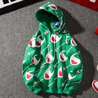Champion autumn and winter tide brand men and women couple plus velvet loose sports hooded sweater green