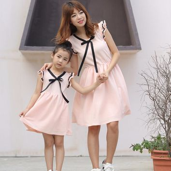 Mother daughter dresses solid matching mother daughter clothes chiffon mom and daughter dress beach family matching clothes 4-9Y