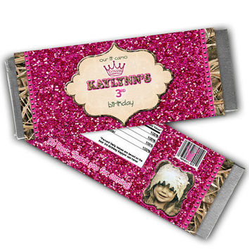 Pink Camo Birthday Party Favors - Camouflage Princess Candy Bar Wrapper - Girls Camo Birthday - Pink Glitter Camouflage - Girls Birthday